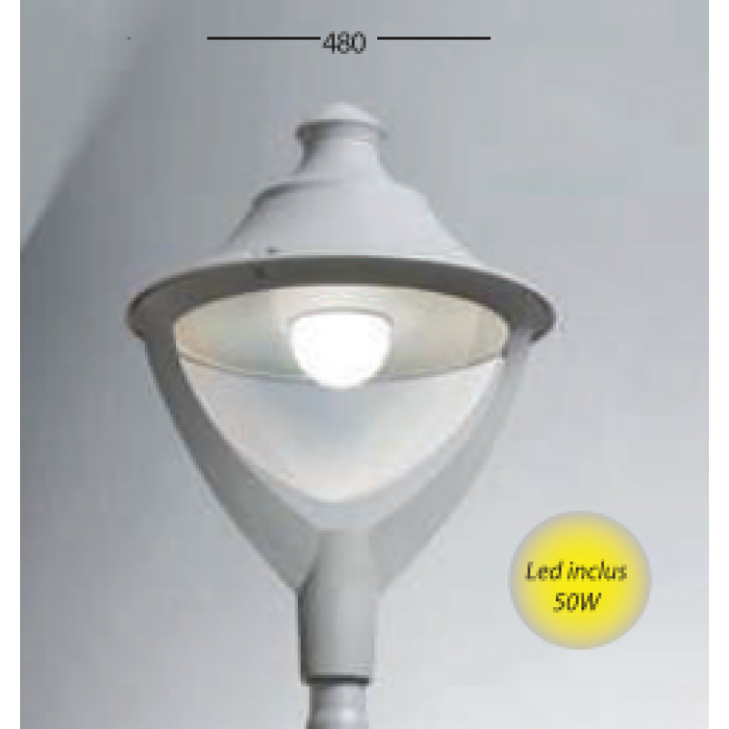 Corp de iluminat Beppe gri 50W 4 m - Panouri Fotovoltaice