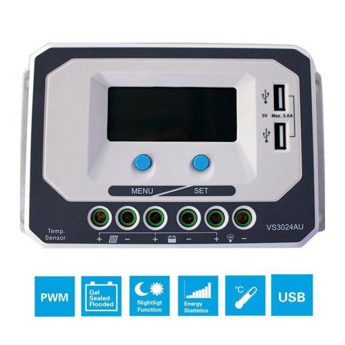 Controler Solar PWM VS3024AU  30A 12V 24V usb