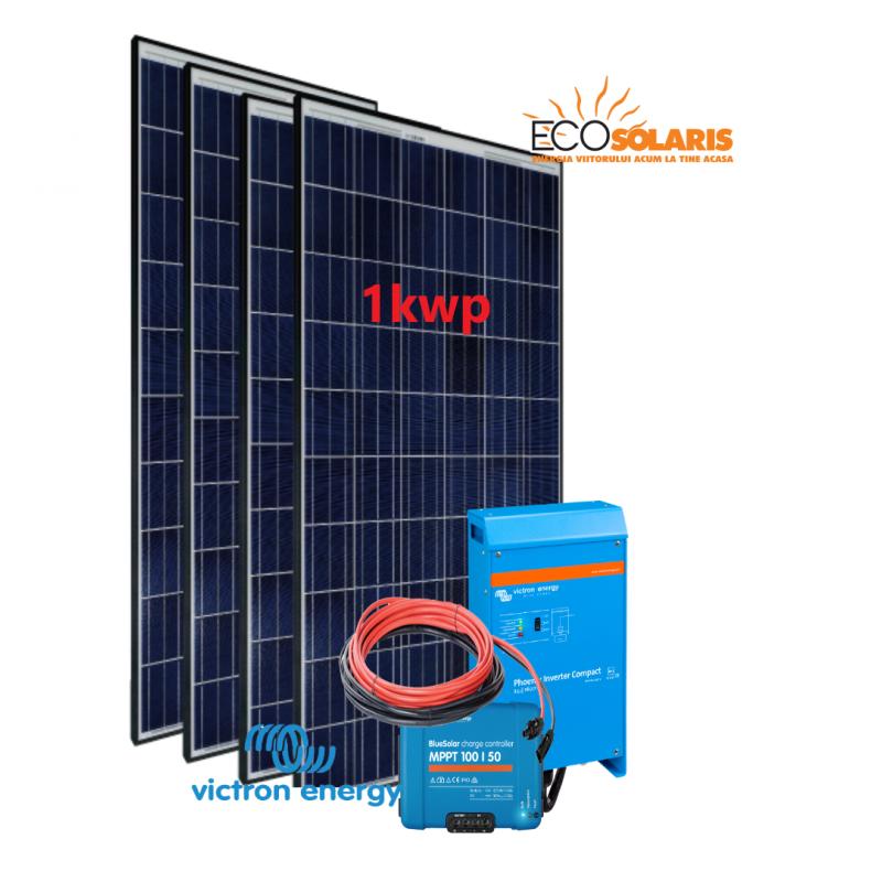Set Panou fotovoltaic 24V 1kWp Policristalin - Controler solar MPPT Victron SmartSolar 100/50 - Panouri Fotovoltaice