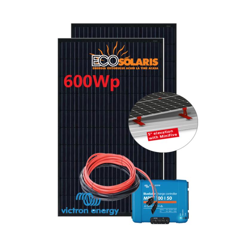 Set Panou fotovoltaic 24V 600W monocristalin - Controler solar MPPT Victron SmartSolar 100/50 cu suport fixare - Panouri Fotovoltaice