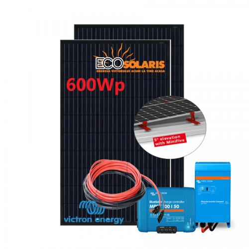 Set Panou fotovoltaic 24V 600W mono - Victron MPPT 100/50 cu suport fixare - Invertor Phoenix 24V 1200VA