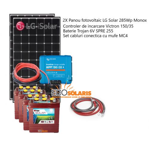 Set Panouri Fotovoltaice 570W LG Solar MonoX Controler MPPT Vicron Energy