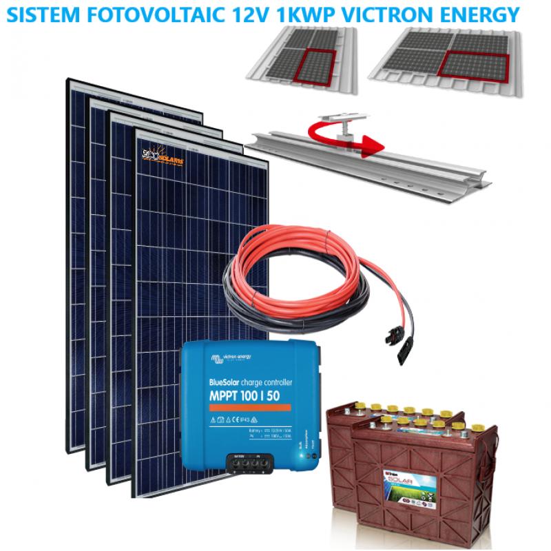 Set Panouri Fotovoltaice 1kwp Eurener  policristalin controler MPPT Vicron Energy 100/50 - Panouri Fotovoltaice