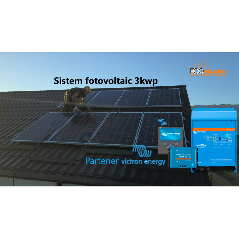 Sistem Fotovoltaic 3Kwp 48V Off Grid Lithium-Ion Victron Energy - Panouri Fotovoltaice