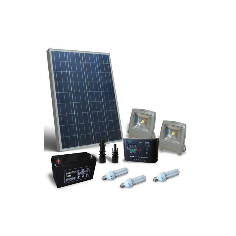 KIT SOLAR FOTOVOLTAIC PENTRU ILUMINAT INTERIOR 12V 100W - Panouri Fotovoltaice