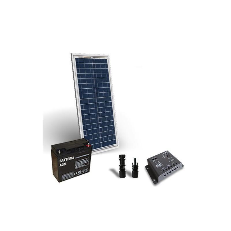 KIT SOLAR PRO 30W 12V PANOU SOLAR, CONTROLER 4A-PWM BATERIE 18A 12V - Panouri Fotovoltaice