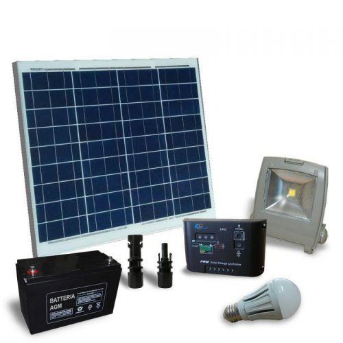 Kit solar fotovoltaic pentru iluminat interior ECONOMIC 12V 50W