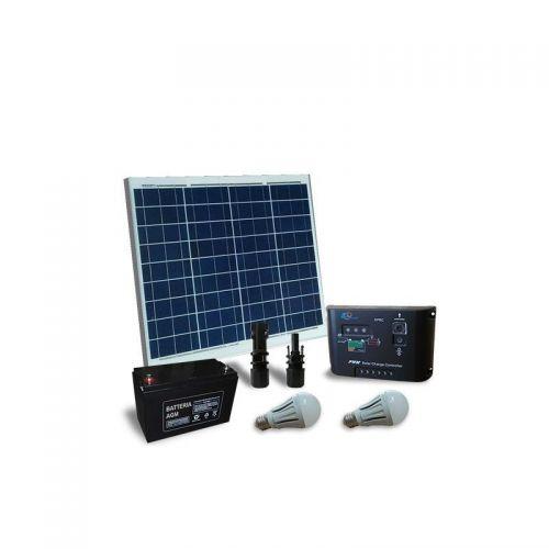 Kit solar fotovoltaic pentru iluminat interior LED 12V 50W