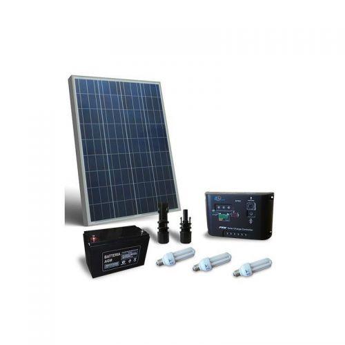 Kit solar fotovoltaic pentru iluminat interior LED 12V 80W